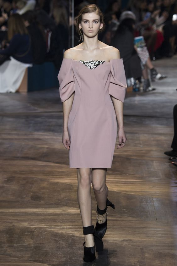 Christian Dior '16 Couture. Vibing the dress colour and off the shoulder layered look in a big way, not so much the shoes.